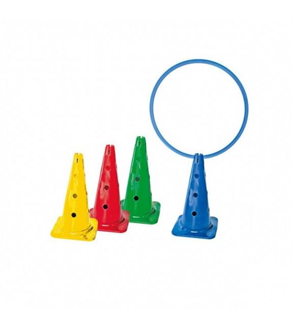 4 cônes avec trous 35cm 4 couleurs