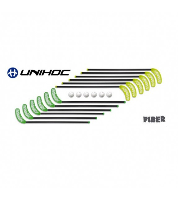 "Set UNIHOC FIBRE "" 12 sticks 95 cm + 6 balles """