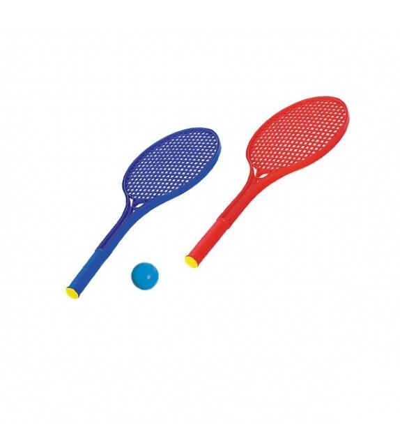 2 raquettes tennis plastique + 1 balle mousse