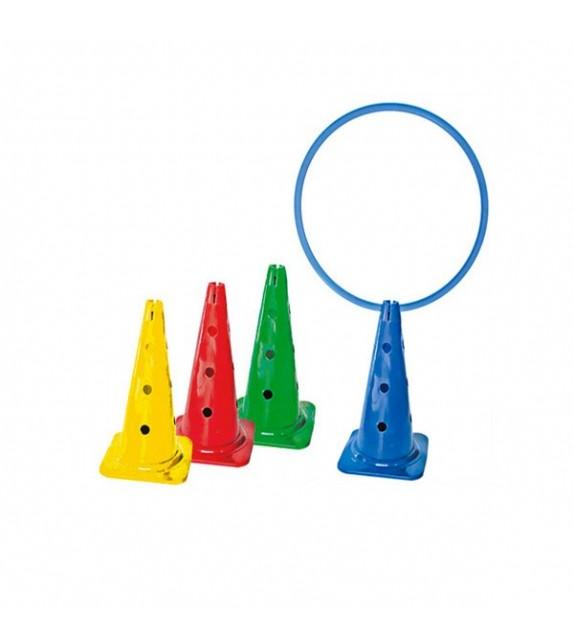 4 cônes assortis 17 trous et encoche cerceau h:50cm
