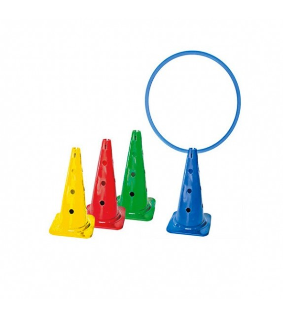 4 cônes 50cm avec trous 4 couleurs
