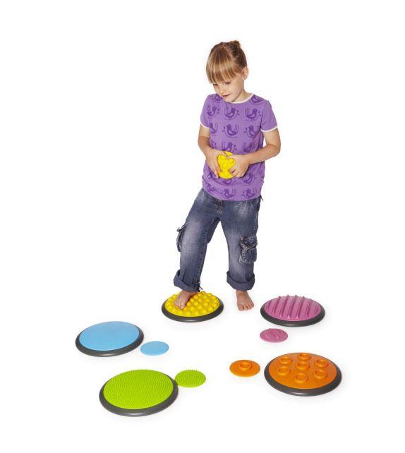 Set de 10 disques tactiles avec différentes textures et couleurs