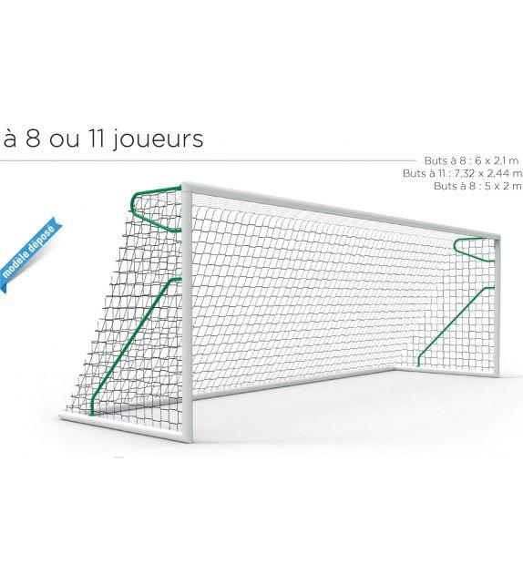 Buts de football (paire) transportables à 8 joueurs 5 x 2 m aluminium MARACANA