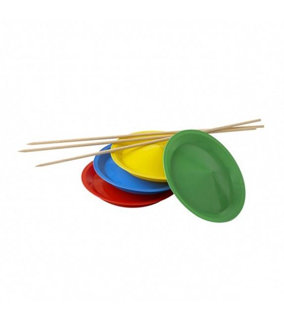3 assiettes plastiques avec baguettes en bois